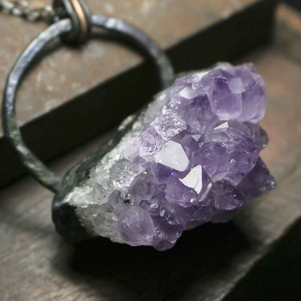 Raw Copper Electroformed Amethyst Crystal Cluster Pendant Necklace - product images  of