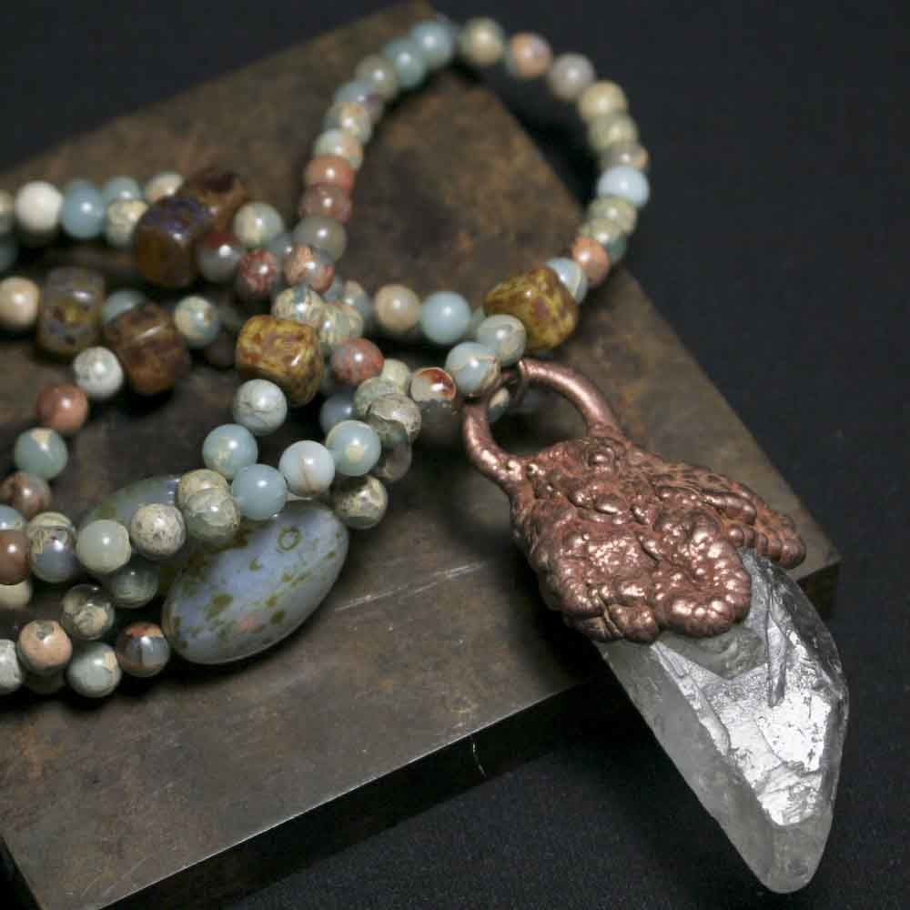 Raw Crystal Point Pendant on Cord with Amazonite Stones and Glass Beads - product images  of