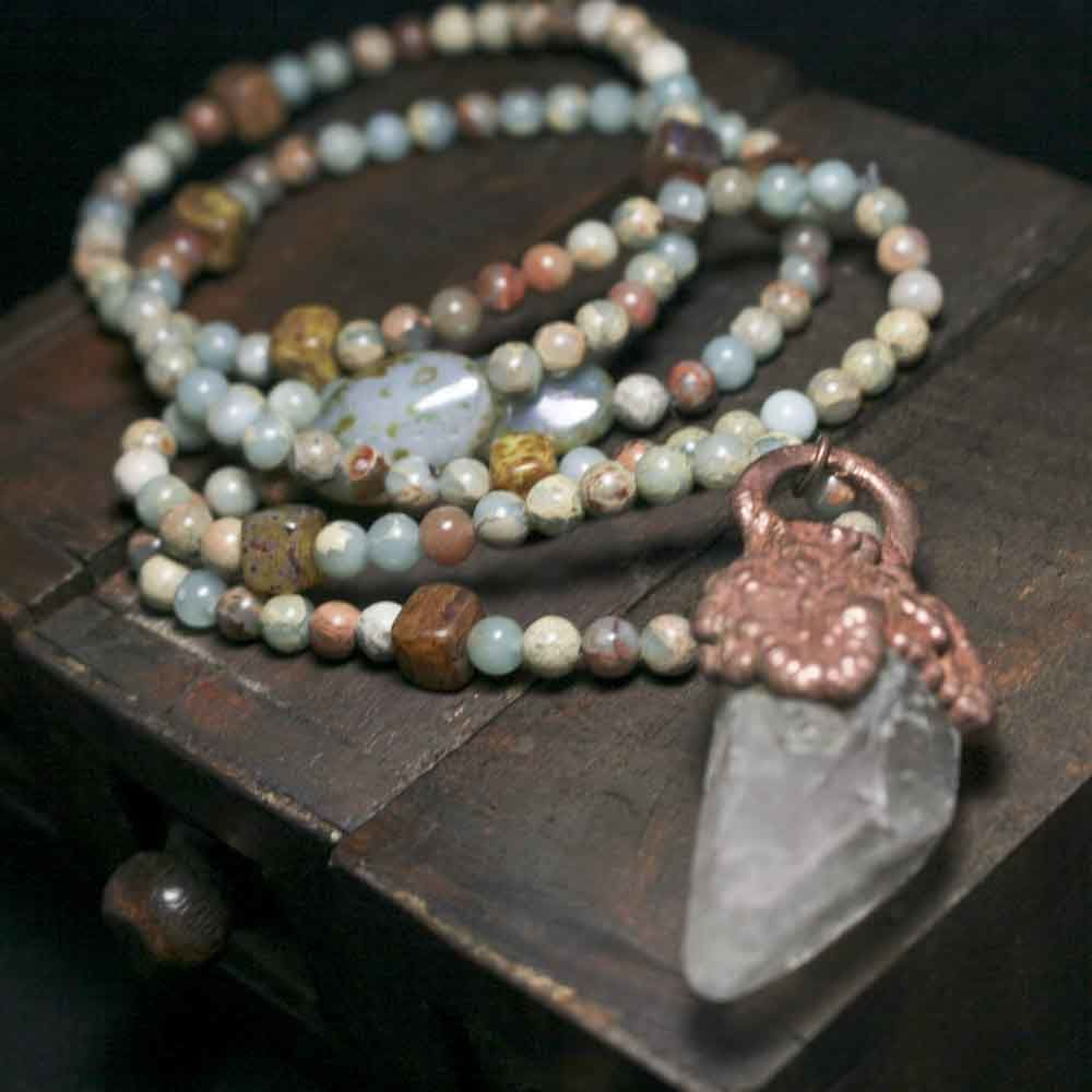 Raw Crystal Point Pendant on Cord with Amazonite Stones and Glass Beads - product image