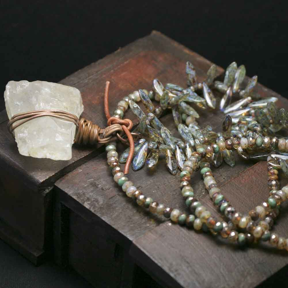 Green and Brown Beaded Cord with Raw Quartz Chunk - product images  of
