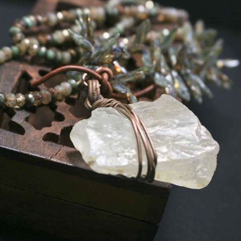 Green,and,Brown,Beaded,Cord,with,Raw,Quartz,Chunk,brass jewerly, patina jewelry, patina necklace, boho jewelry