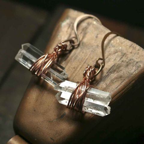 Double,Crystal,Wire,Wrapped,Copper,Dangle,Drop,Earrings