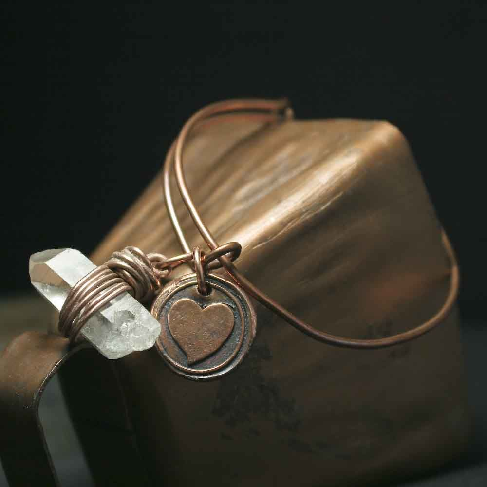 Solid Copper Rustic Heart Charm and Raw Crystal Quartz Bracelet - product images  of