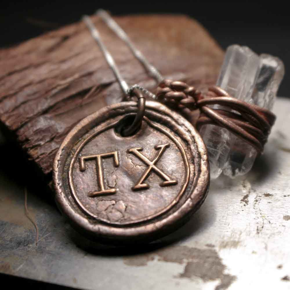 Texas State Wax Seal Charm with Double Crystal Quartz Pendant Necklace - product images  of