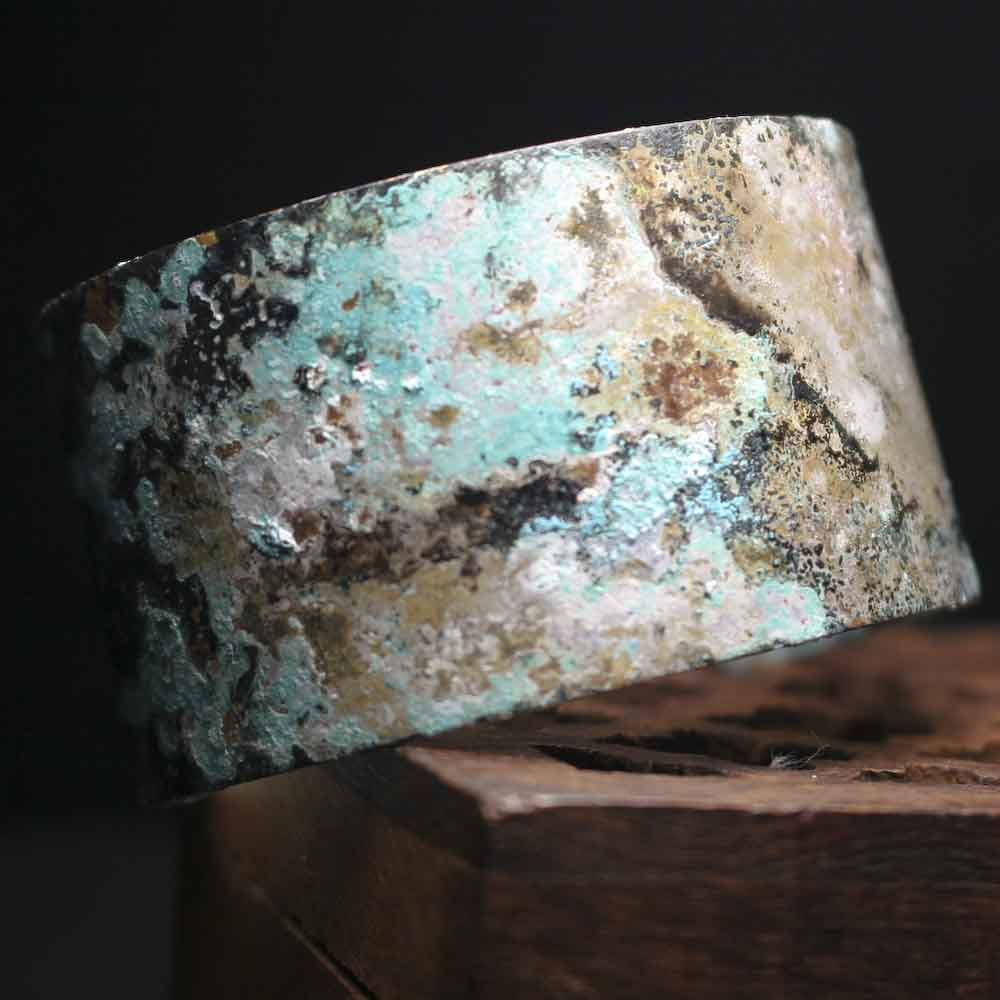 Dark Wide Brass Patina Cuff Bracelet - product images  of