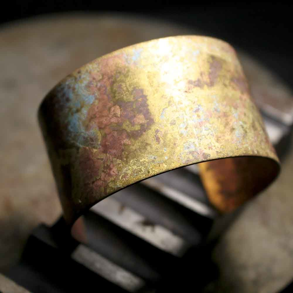 Wide Brass Patina Cuff Bracelet - product images  of