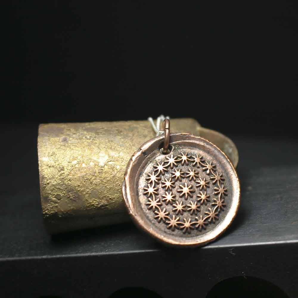 Copper Dandelion Wishes Wax Seal Charm Necklace - product images  of