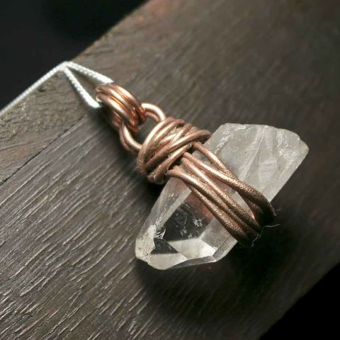 Rough,Quartz,Pendant,Necklace,herkimer, necklace, copper necklace, artisan made jewelry