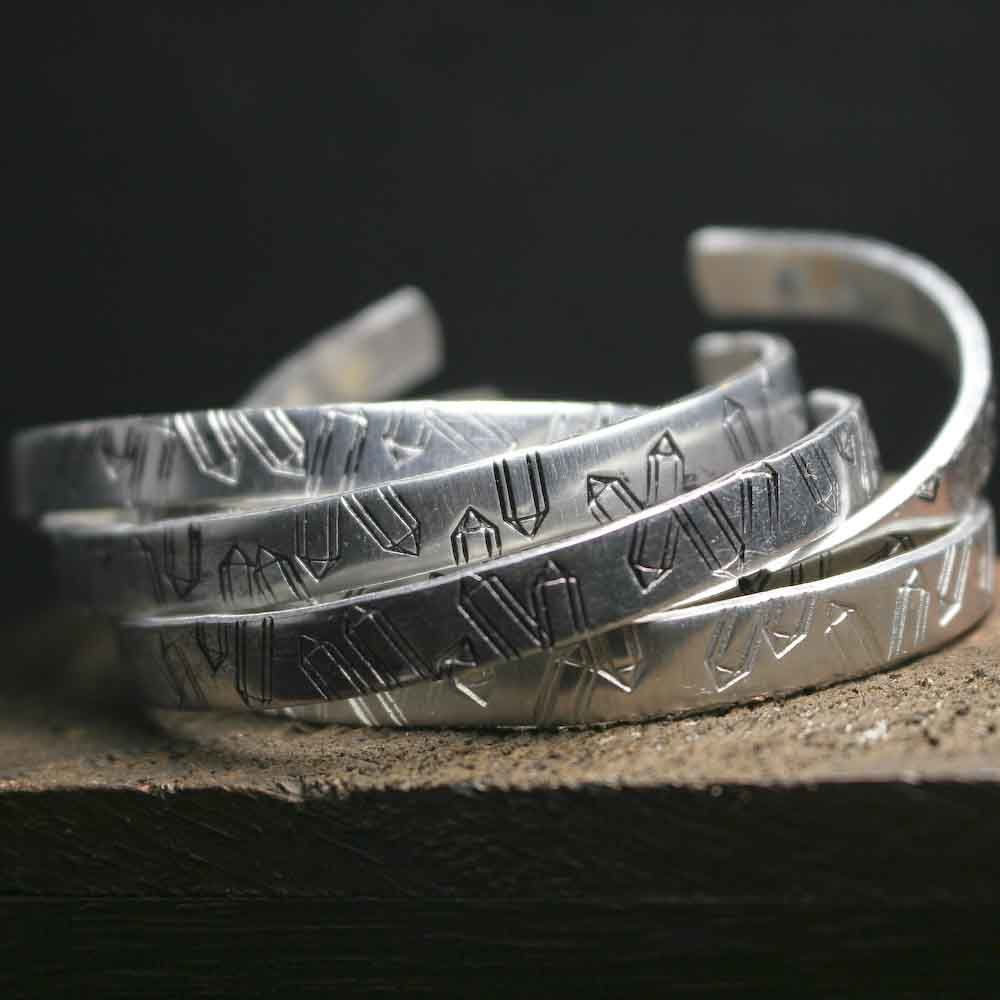 Handstamped Aluminum Crystal Point Cuff Bracelet Stack - product images  of