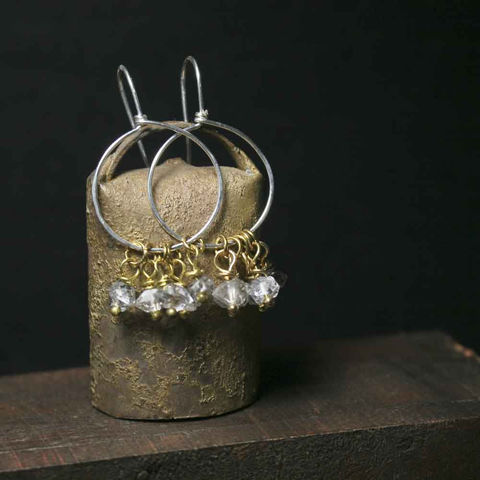 Sterling,Silver,and,Brass,Dangle,Earrings