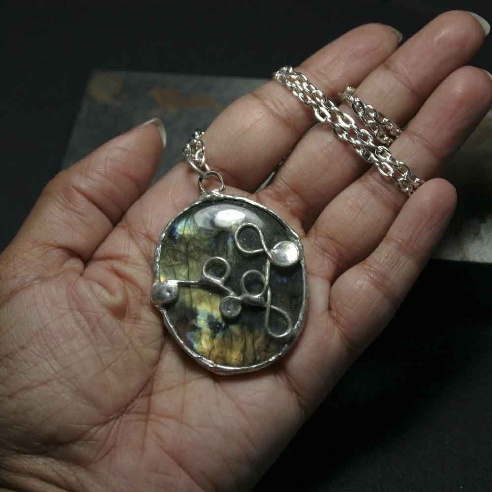 Semi-Round Labradorite Pendant Necklace - product images  of