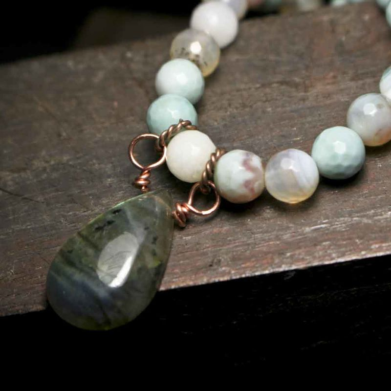 Agate and Labradorite Short Copper Necklace - product image