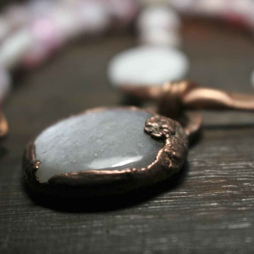 Agate and Labradorite Short Copper Necklace - product images  of