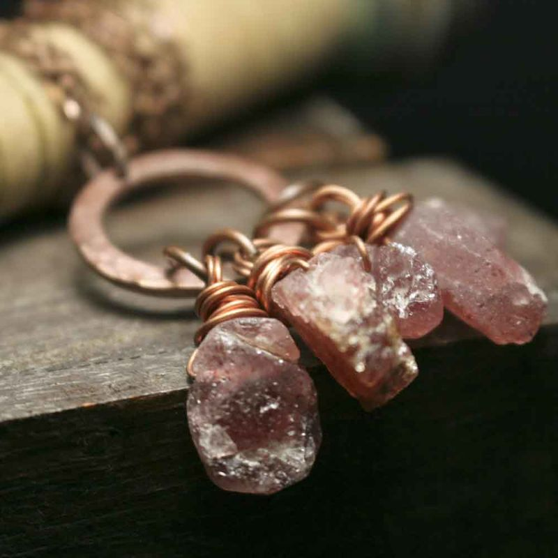 Strawberry Quartz Crystal Charm Necklace - product image