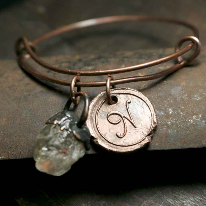 Initial Letter N and Quartz Stone Charm Bracelet - product images  of