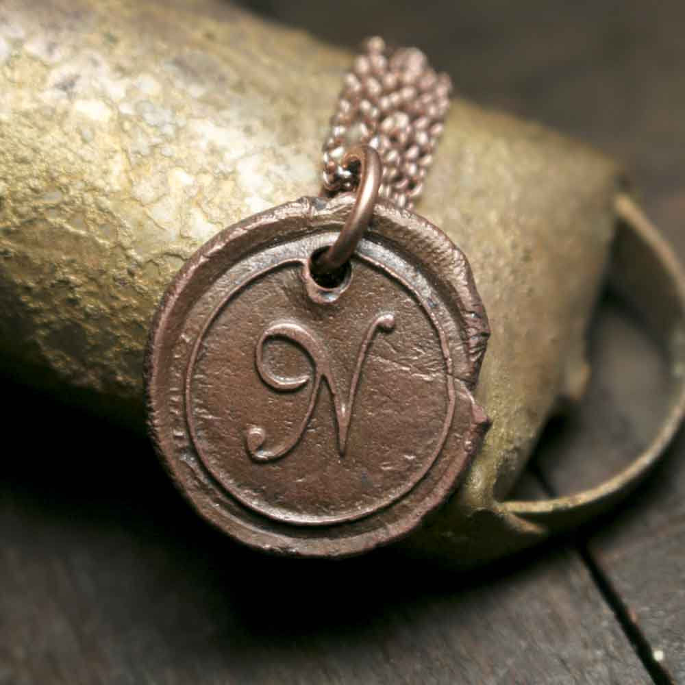 Simple Solid Rustic Copper Initial N Wax Seal Letter Charm on Chain - product image