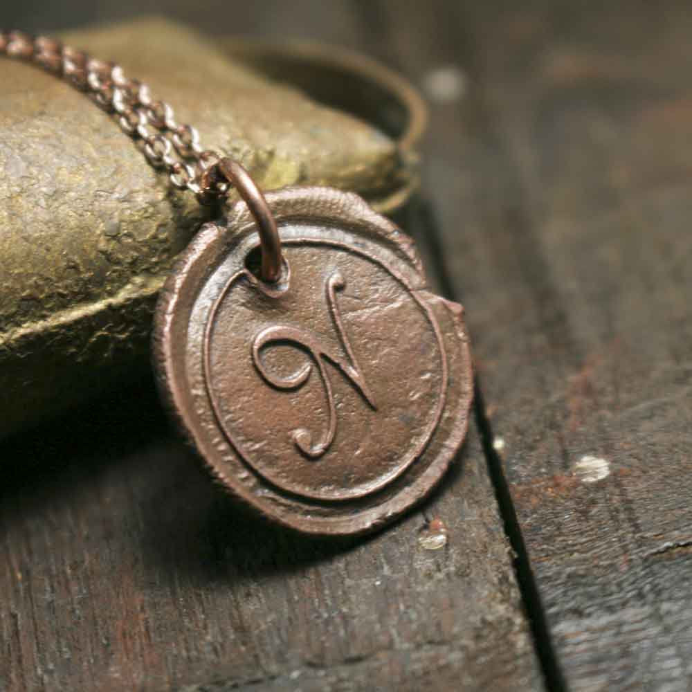 Simple Solid Rustic Copper Initial N Wax Seal Letter Charm on Chain - product images  of