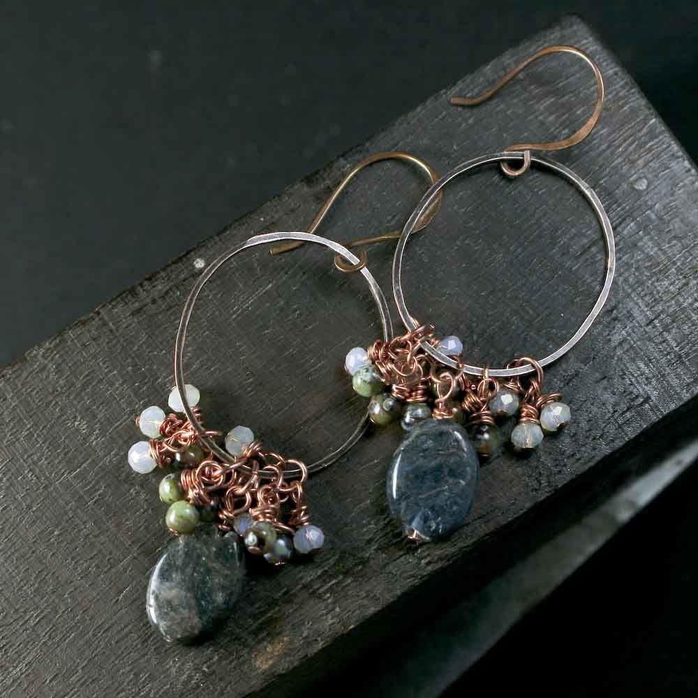 Netflix Series - Grace & Frankie - Apatite and Glass Beads Copper Earrings - product images  of