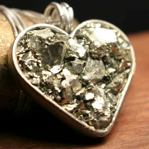Large,Chunky,Pyrite,Heart,Necklace,patina, brass cuff, bangle, stacking bracelets, patina jewelry