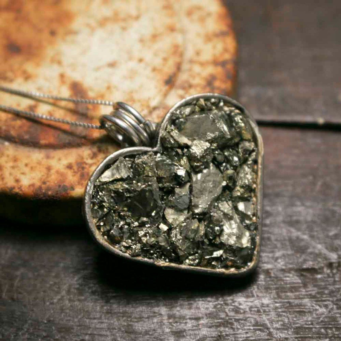 Large Chunky Pyrite Heart Necklace - product images  of
