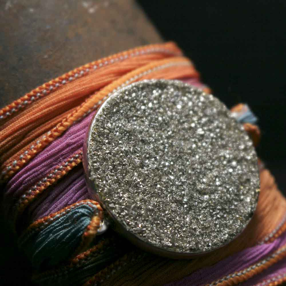 Crushed Pyrite and Silver Glitter Ribbon Wrap Bracelet - product images  of