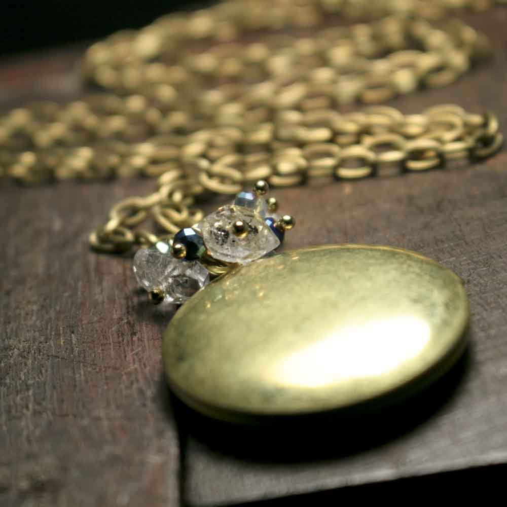 Herkimer Crystal Quartz Brass Photo Locket - product images  of