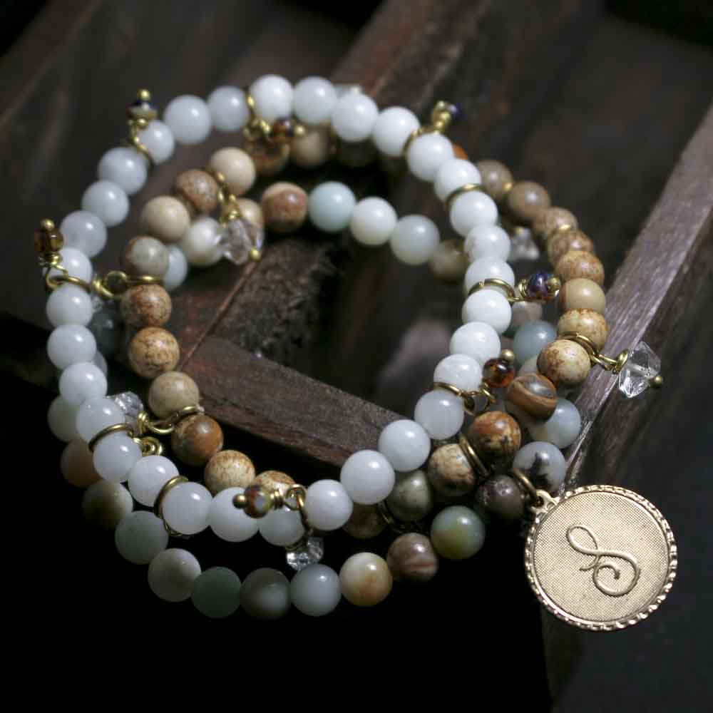 Set of 3 Herkimer, Amazonite, and Jasper Stretch Bead Bracelets with CUSTOM Initial Charm - product image
