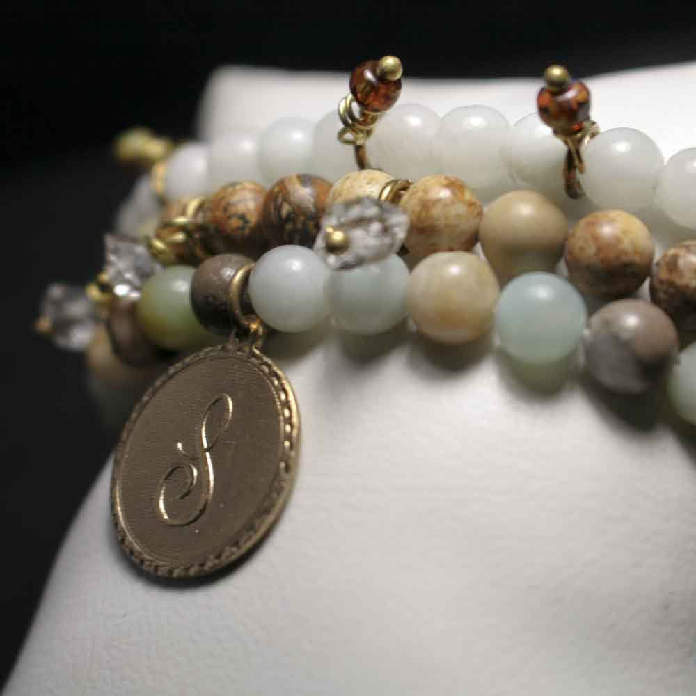 Set of 3 Herkimer, Amazonite, and Jasper Stretch Bead Bracelets with CUSTOM Initial Charm - product images  of