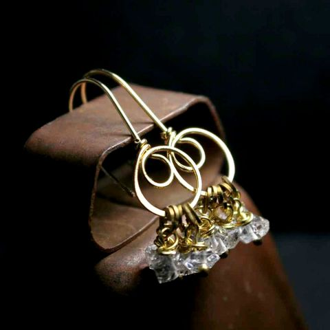 Nu,Gold,and,Herkimer,Double,Swirl,Earrings
