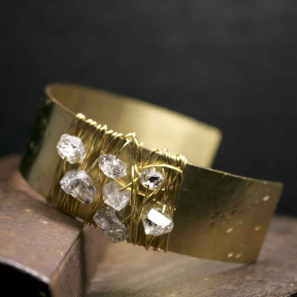 Brass Wire Wrapped Herkimer Cuff Bracelet - product images  of