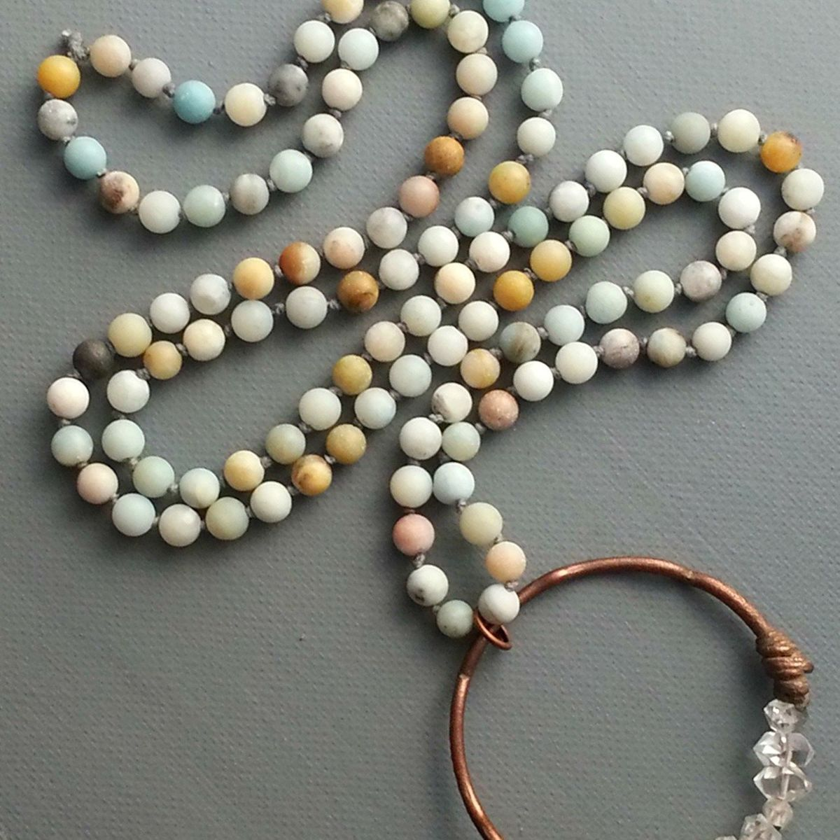 Long Amazonite and Herkimer Quartz Necklace - product images  of