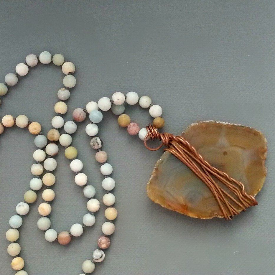 Brown Agate Slice on Matte Amazonite Beaded Long Beaded Cord - product images  of