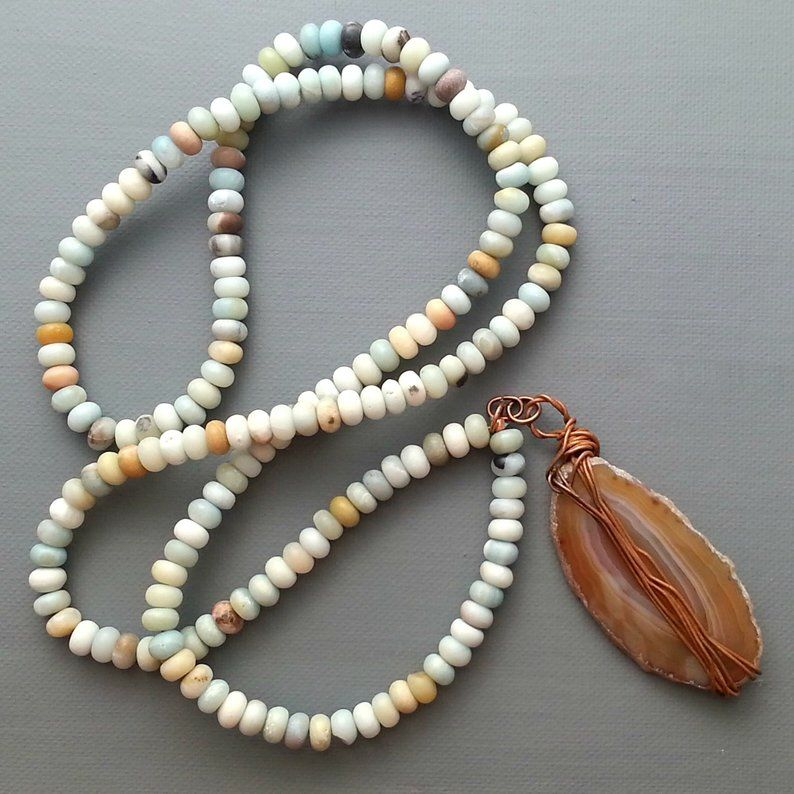 Agate Slice on Amazonite Beaded Cord - product images  of