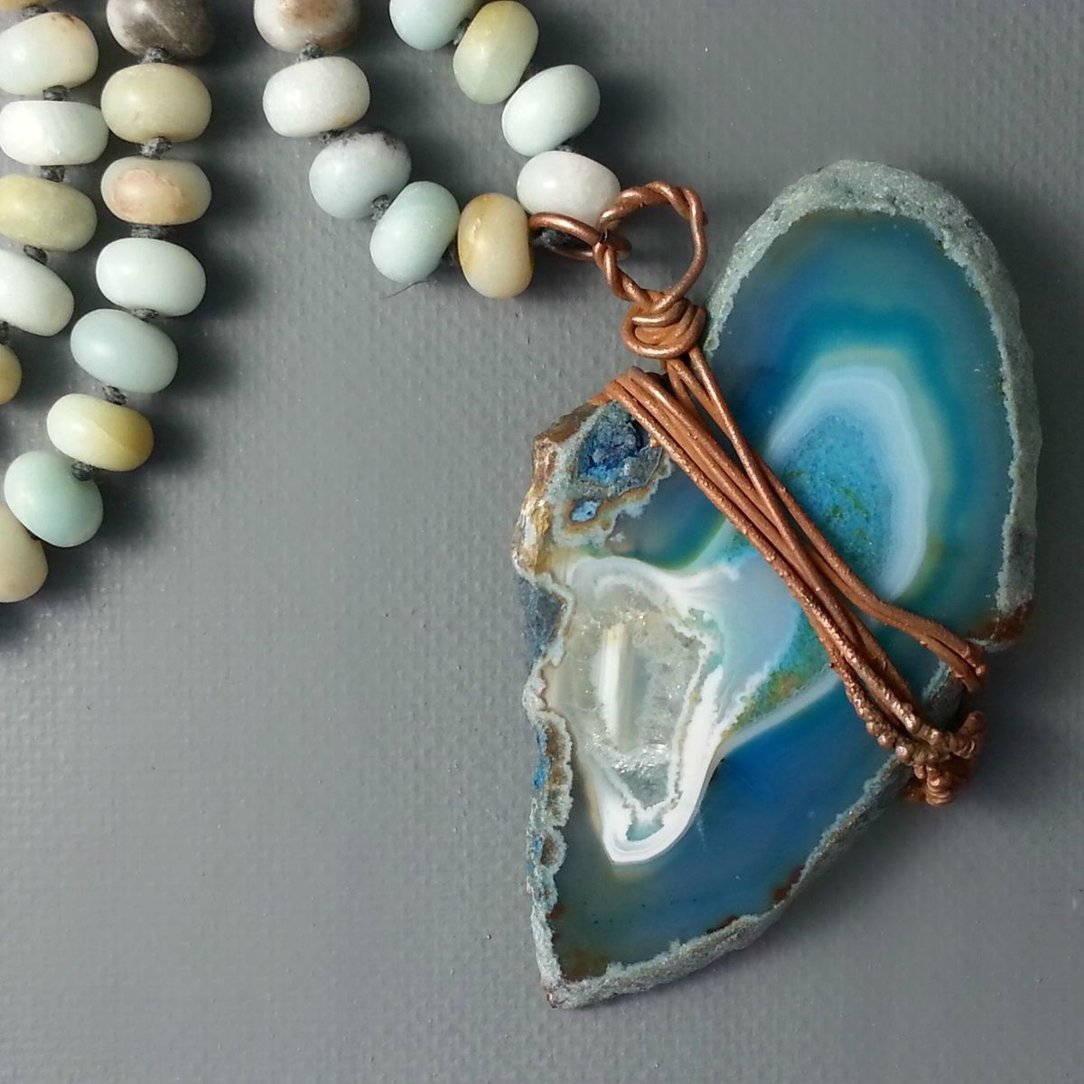 Teal Blue Agate Slice on Matte Amazonite Beaded Long Cord - product images  of