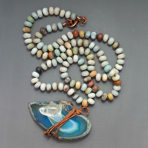 Teal,Blue,Agate,Slice,on,Matte,Amazonite,Beaded,Long,Cord,healing crystal, crystal jewelry, citrine jewelry, yellow crystal, boho festival jewlery, copper jewelry, copper electroformed jewelry, boho jewelry
