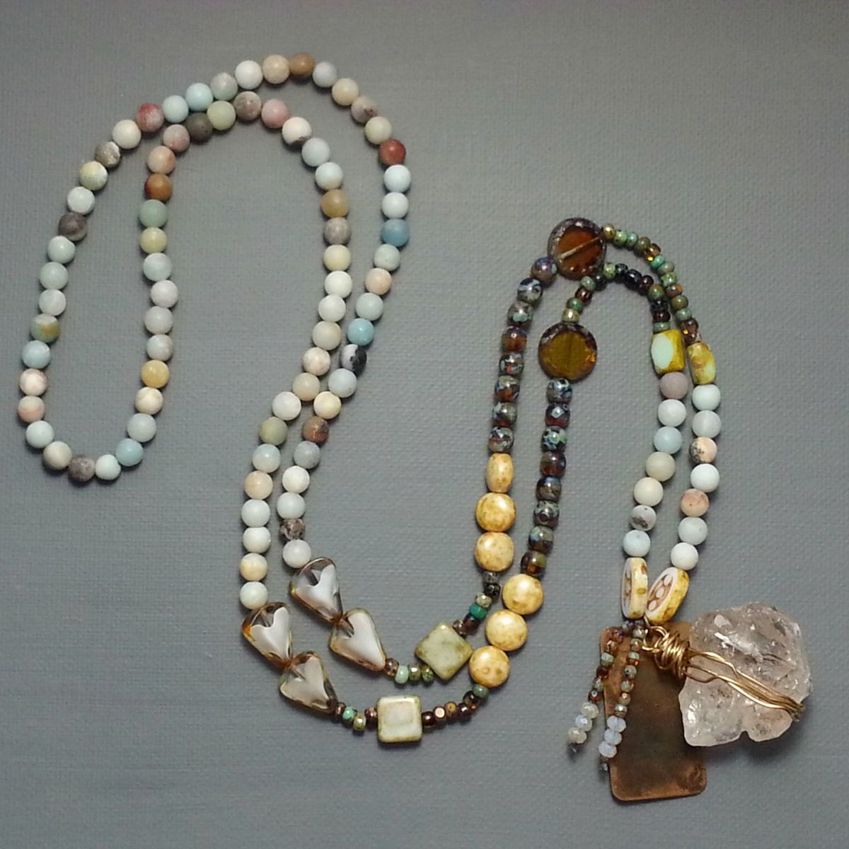 Long Beaded Necklace with Quartz Stone - product images  of
