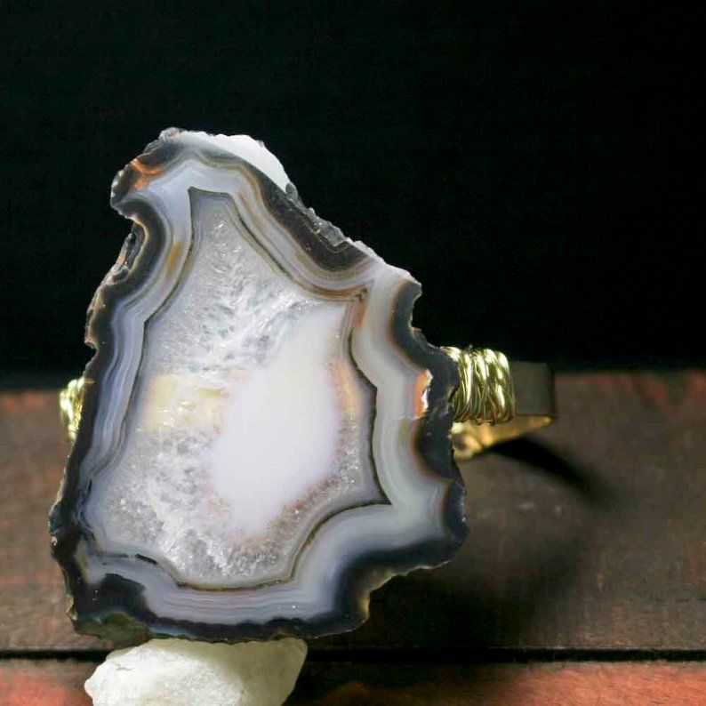 Large Black White Gray Agate Cuff Bracelet - product images  of