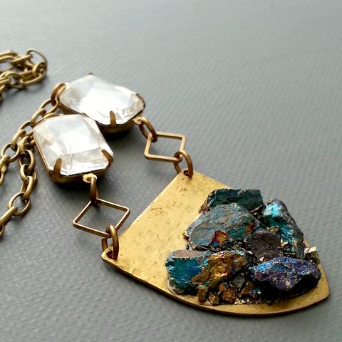 Crushed,Peacock,Ore,and,Brass,Shield,Pendant,Necklace,patina, brass cuff, bangle, stacking bracelets, patina jewelry