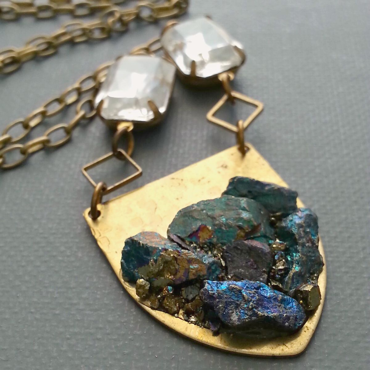 Crushed Peacock Ore and Brass Shield Pendant Necklace - product images  of