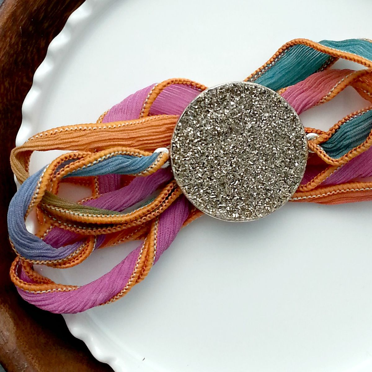 Crushed Pyrite and Silver Glitter Ribbon Wrap Bracelet - product image