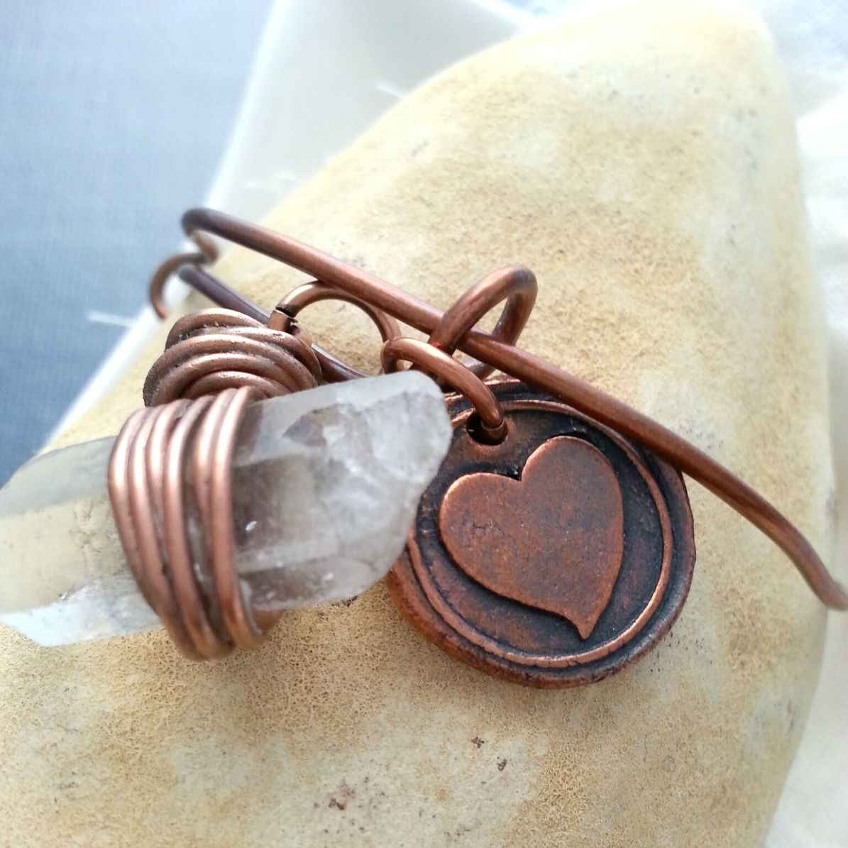 Solid Copper Rustic Heart Charm and Raw Crystal Quartz Bracelet - product image