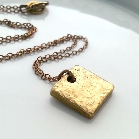 NBC,Series,-,Good,Girls,|,Season,3,Modern,Square,Charm,Necklace,costume designer, costume department, stylist, square, modern, minimalist, geometric necklace, layering necklace, dainty necklace, square jewelry, brass necklace, tiny gold necklace, pendant, square necklace