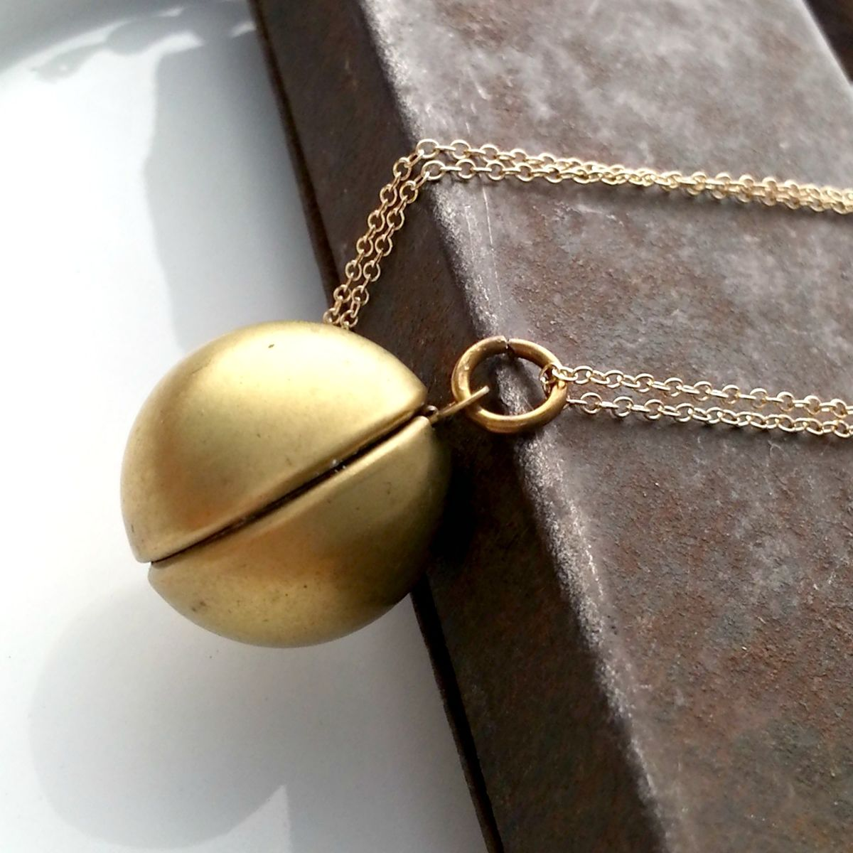 Vintage Brass Ball Orb Locket Necklace - product images  of