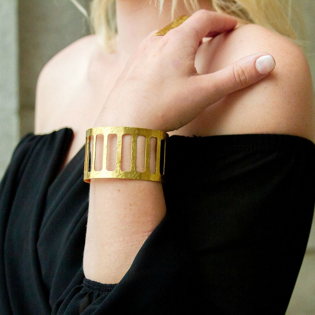 FREEFORM SERIES - GROWN-ISH - HAMMERED CAGED CUFF BRACELET - product images  of