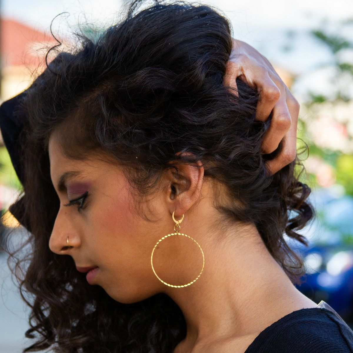 Modern Round Brass Earrings - product images  of
