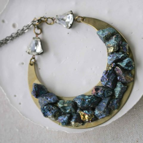 Crushed,Peaock,Ore,on,a,Large,Brass,Crescent,Pendant,Necklace,boho necklace, purple necklace, boho style jewelry