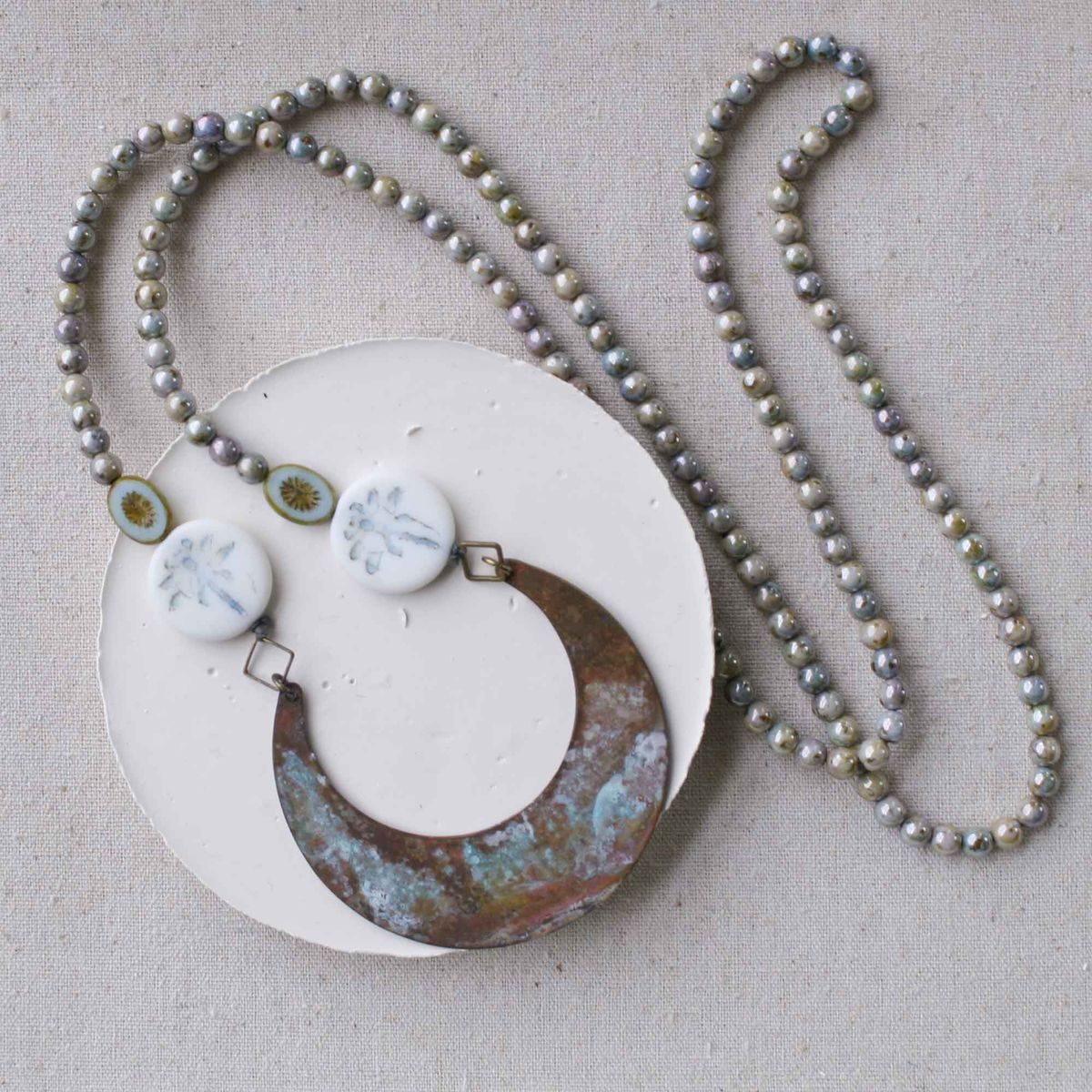 Beaded Patina Necklace with Dragonfly Beads - product image