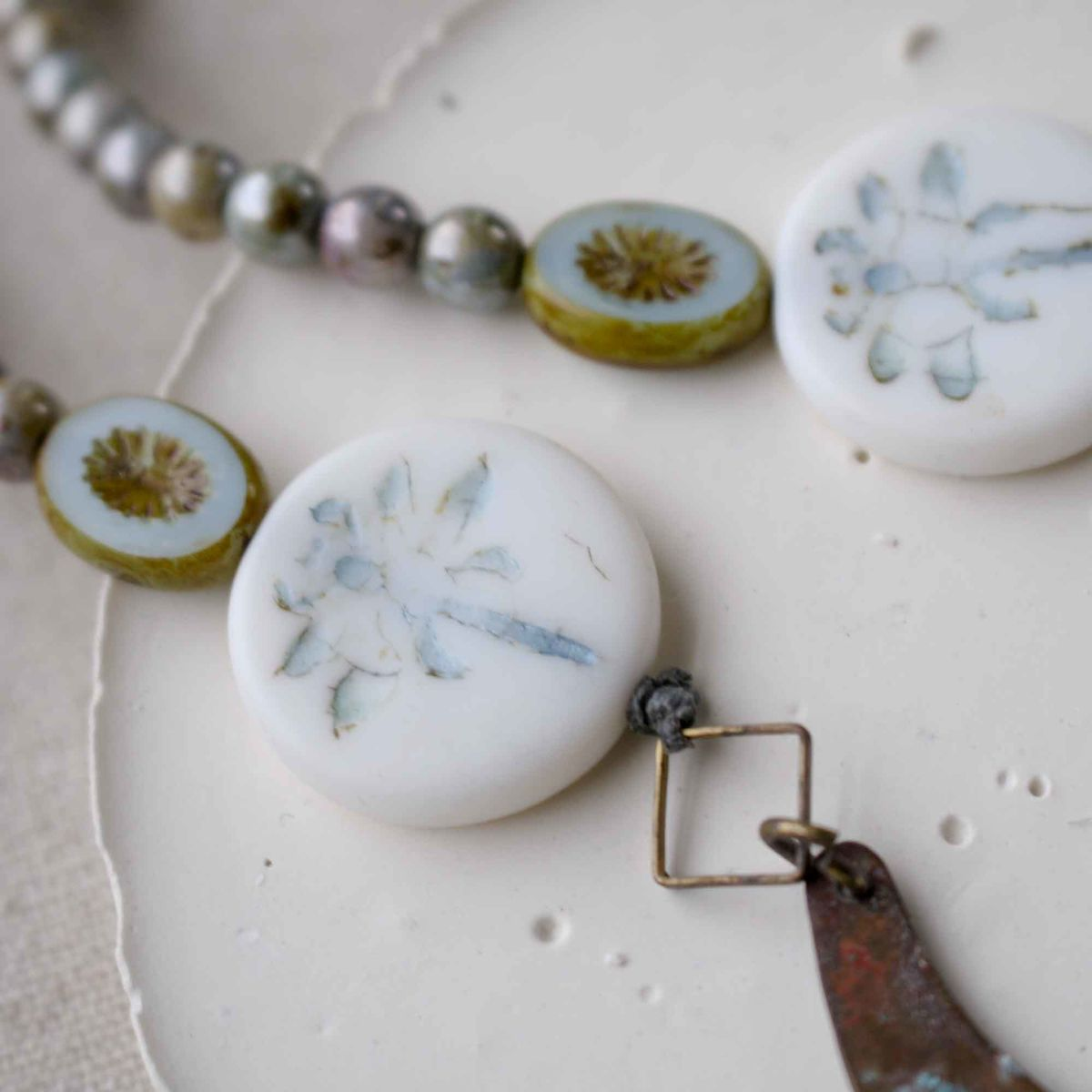 Beaded Patina Necklace with Dragonfly Beads - product images  of