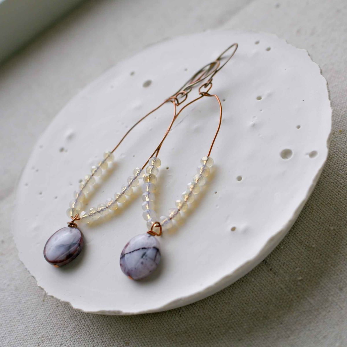 Purple Lilac Dyed Agates with Glass Beads Loop Earrings in Copper - product image