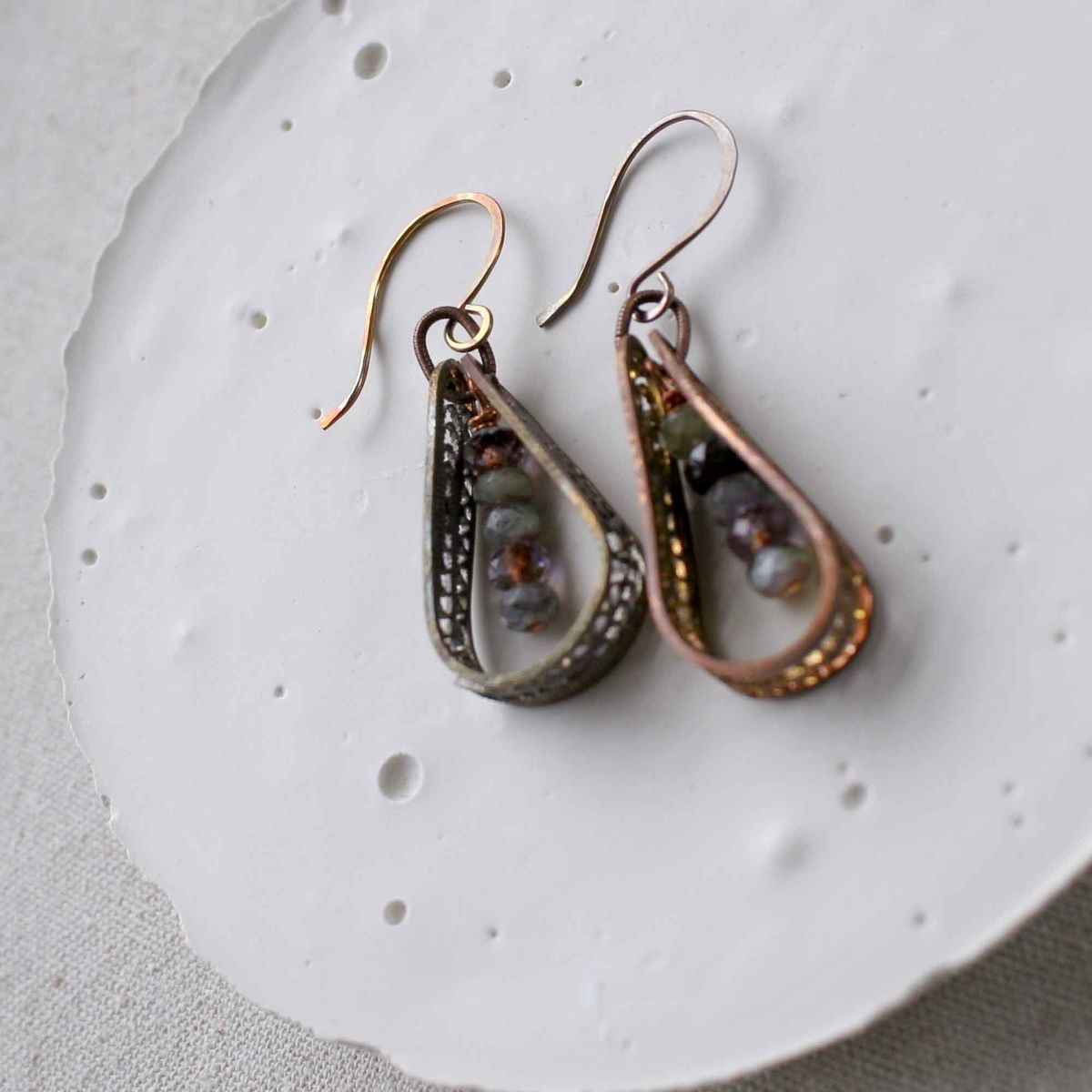 Fire Patina Copper Earrings with Glass Beads - product images  of